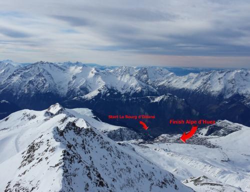 Start en finish van La Marmotte vanaf Le Pic Blanc (3330 m)